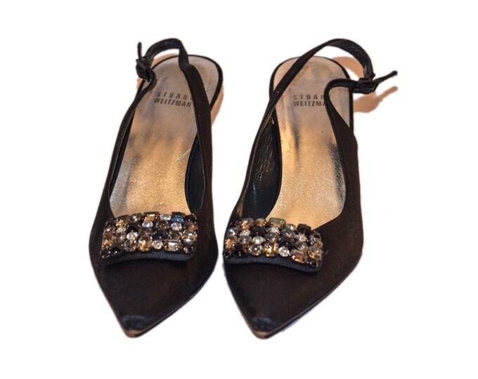 Stuart Weitzman Vintage Estate Black Rhinestone Detail Heels