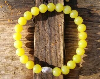 Lemon Jasper Bracelet, Sterling Silver Bracelet, Beaded Bracelet, Stretch Bracelet, Jasper Bracelet, Beaded Bracelet, Lemon Bracelet