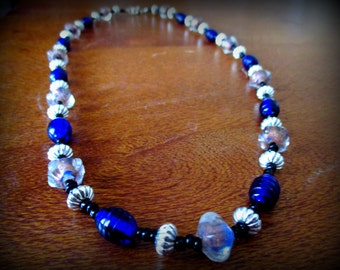 """Tibetan Silver and Blue Foil Beaded Necklace """"Azure"""""""