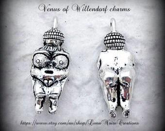 Venus Of Willendorf charms (x3) - antique silver tone