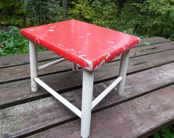 Christmas Red and White Farmhouse Step Stool, Country Style Step Stool, Vintage Farmhouse Stool, Red Wooden Step Stool, Cute Foot Stool