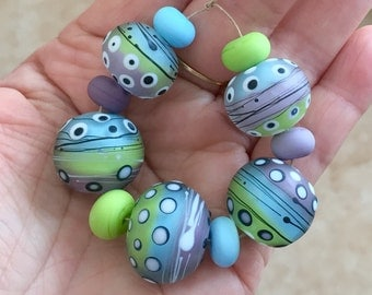 Purple green blue white matte  beads  handmade lampwork set glass bead