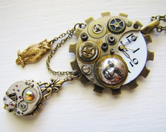 Steampunk Night Owl Pendant Necklace PN31
