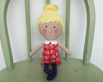 Handmade rag doll, perfect for imaginative play!