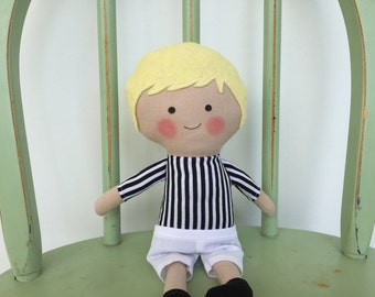 Referee, little boy rag doll, perfect for imaginative play!