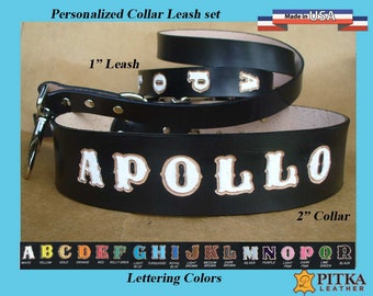 Personalized Black Dog Collars and Leashes - Big leather dog collar and matching leather leash - 2 inch dog collar and 1 inch leash - USA