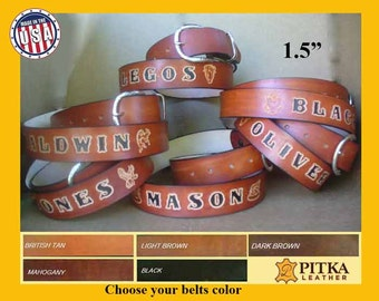Custom made Leather Belts - Unique Best Groomsmen Gift - Personalized Leather Belts Customized with Name or Text - Leather Belts made in USA