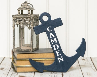 Nautical Nursery Sign - Personalized Anchor - Boy's Name Sign - Boy's Monogram Sign -Boy's Room Door Hanger -Boy's Room Sign -Nautical Theme