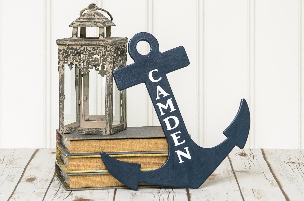 Nautical nursery sign personalized anchor boy 39 s name for Where can i buy nautical decor