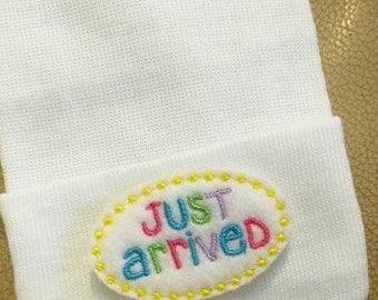"EXCLUSIVE NEW! Newborn Hospital Hat. Gender Neutral! Newborn Hospital Beanie. White Hat with ""Just Arrived"" Applique. 1st Keepsake!"