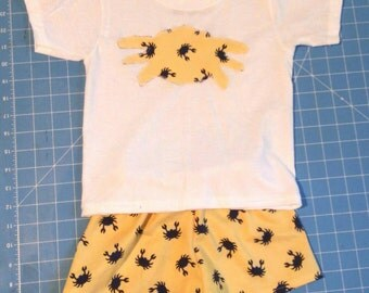 Boys yellow crabby shorts outfit