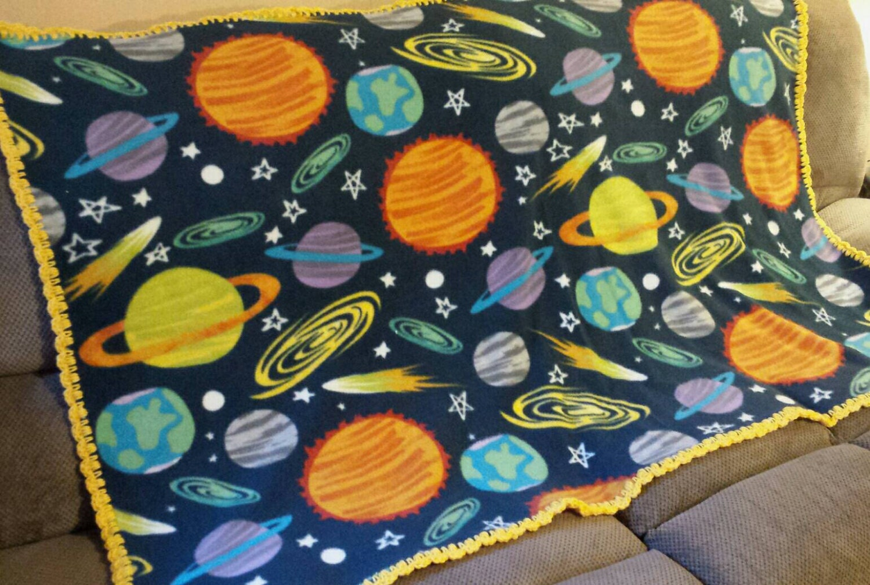 Outer space fleece throw blanket solar system fleece blanket for Outer space fleece