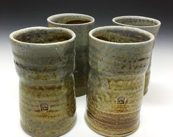 Wood Fired Stoneware Cup Set of 4 - Peach Shino, 0524001