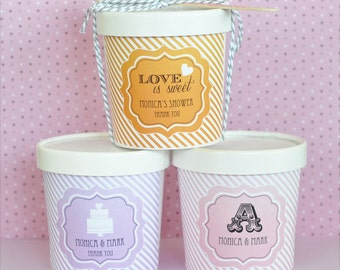 "Mini Ice Cream Containers, ""Love is Sweet""  (Set of 25)"