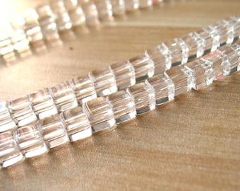 Natural Clear Quartz Cube Bead Rock Crystal Quartz Beads 6mm Beads High Quality A194