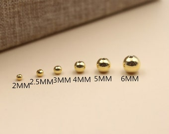 Smooth round 925 sterling silver bead 24k yellow gold plated spacer ball beads diy jewelry wholesale A001