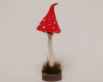 Whimsical Toadstool Ornament. Needle Felted and Wet Felted Toadstool Decoration, Rustic Mixed Media Art.