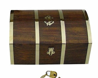Maritime wooden box / chest / treasure box - Marquetry / brass hinges 14 cm/5.5 inches