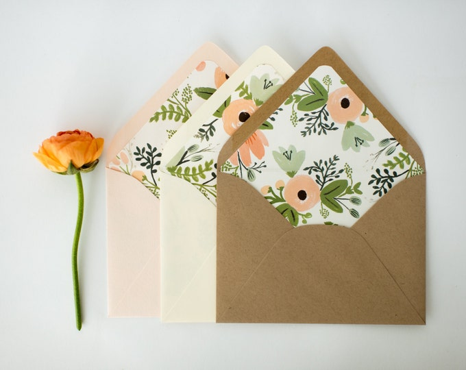 "rifle paper ""wildflower"" lined envelopes (sets of 10) // romantic floral blush pink rifle paper envelope liners lined envelopes"