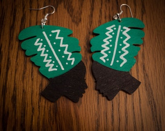 Green Head Wrap Wood Earrings