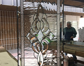 Lovely and Classic Stained & Beveled glass panel (we do custom work, email me for quote)