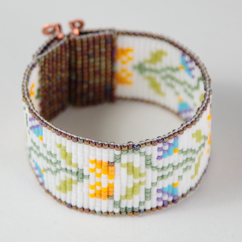morning garden bead loom bracelet artisanal jewelry