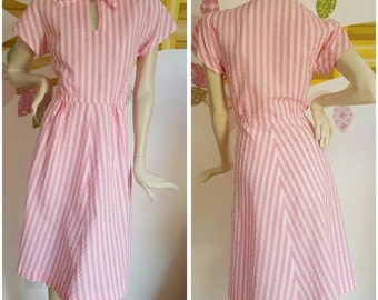 A Handmade Reproduction 1940s Candysripe dress with keyhole neckline
