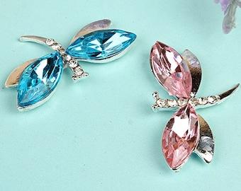 Wholesale bulk lot  100pcs  Rhinestone dragonfly  buttons Metal Flatback Embellishment , Wedding bouquet    2x3cm