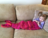 Pink Mermaid Tail Blanket - Crochet Mermaid Tail - Knit Mermaid Tail - Child Mermaid Tail - Girl's Mermaid Blanket - Preschool Mermaid Tail
