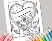 Heart coloring page, heart coloring sheet, love coloring page, flowers coloring page, adult, kids, printable, heart with banner, diy