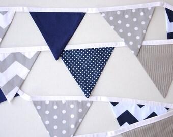 Navy, Grey, Gray, Chevron, spots, stripes, nursery decor, Baby shower banner, Pennants, nursery bunting, Boys room decoration, photo prop