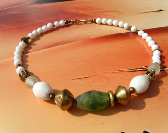 Old African brass of beads white agate Bead Necklace