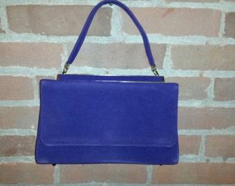 Royal Purple 70's Faux Suede Handbag
