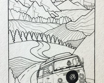 Adventure Bus, Single Page Print: Travelers Coloring Book