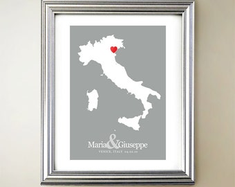Italy Custom Vertical Heart Map Art - Personalized names, wedding gift, engagement, anniversary date