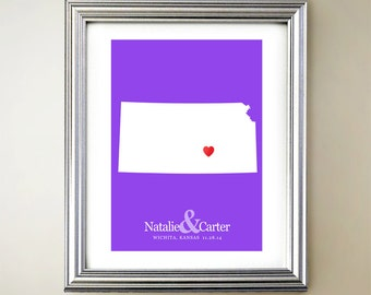 Kansas Custom Vertical Heart Map Art - Personalized names, wedding gift, engagement, anniversary date