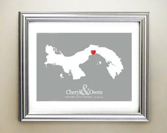 Panama Custom Horizontal Heart Map Art - Personalized names, wedding gift, engagement, anniversary date