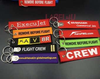 50pcs Custom embroidered keychain, flight embroidered keychain, embroidery keychain