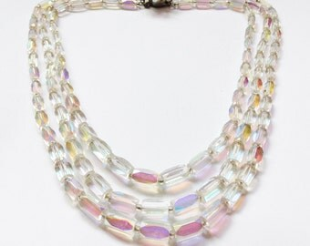 Crystal Aurora Borealis Bead Necklace, Vintage 1960's