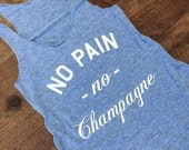 No Pain No Champagne Eco Blue/White Eco Gym Shirt, Yoga Top, Yoga Vest, Workout Top