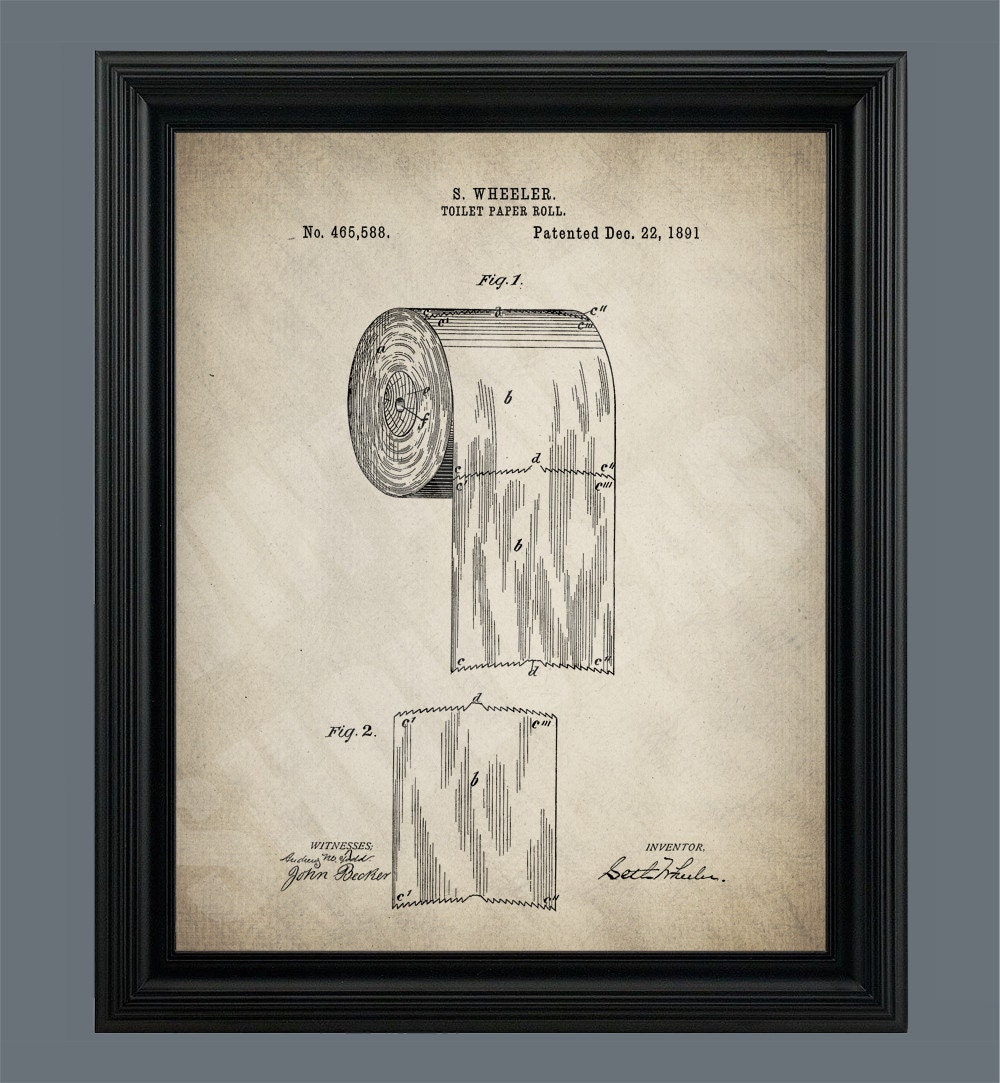 Vintage toilet paper roll patent print poster bathroom art for Vintage bathroom printables