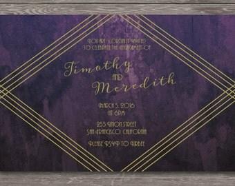 Art Deco Engagement Party Invitation - 20s, retro, gatsby, gold