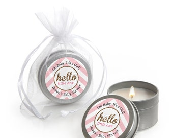 Hello Little One - Pink and Gold Candle Tin Girl Baby Shower Party Favors - 12 Count