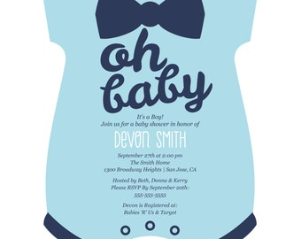 Hello Little One - Blue and Silver - Baby Bodysuits Shaped Custom Boy Baby Shower Invitations - Personalized Party Supplies - Set of 12