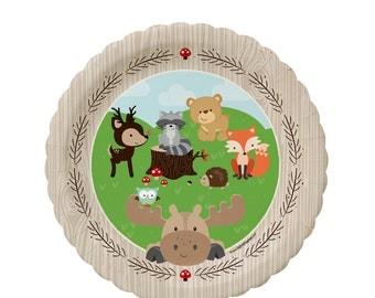 Woodland Dessert Plates - Woodland Creatures Baby Shower or Birthday Party Supplies - Woodland Animals Dessert Plate - Forest Friends - 8 Ct