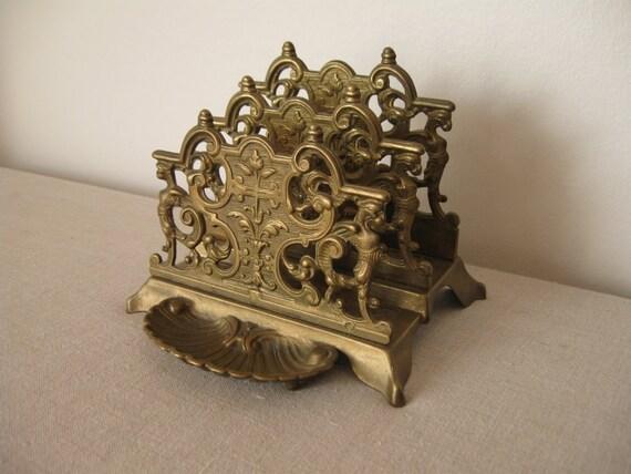 French letter holder antique vintage mail office for Vintage letter holder desk