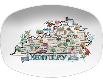 Kentucky Platter, Kentucky Map Platter, Kentucky State Platter - High End Plastic