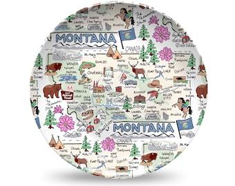 Montana Plate, Montana Plastic Plate, Montana State Map Plastic Plate - High End Plastic