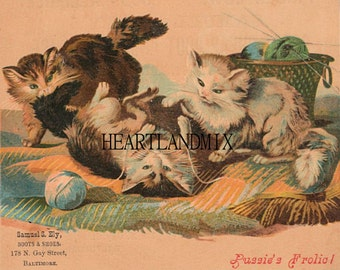Cats Vintage Digital Ad image Wall Art Download Printable 600 DPI