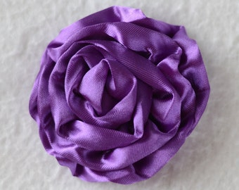 3 inch Rose Hair Flowers, Wholesale Satin Roses for Baby Headbands, Lot of 1, 2, 5 or 10 - Purple